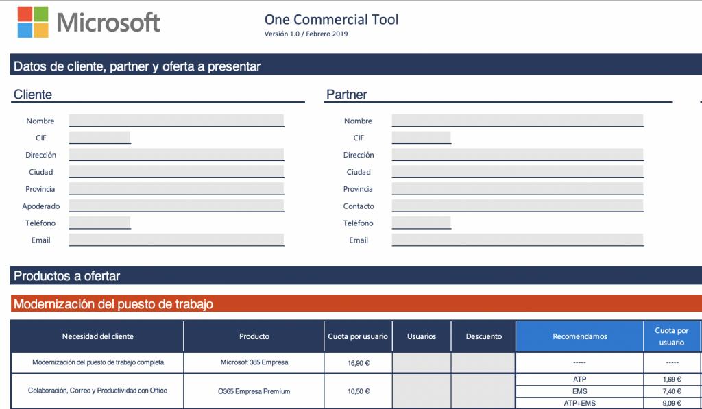one commercial tool microsoft takealeap configurador oferta